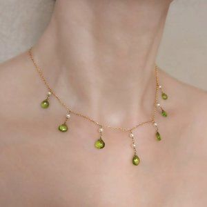 Peridot 14K Solid Gold Droplet Necklace